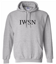 Load image into Gallery viewer, grey IWSN hooded sweatshirt for women