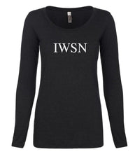 Load image into Gallery viewer, black IWSN long sleeve scoop shirt for women