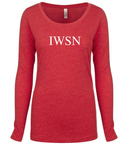 red IWSN long sleeve scoop shirt for women