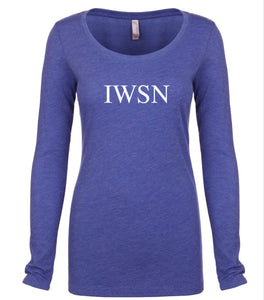 blue IWSN long sleeve scoop shirt for women