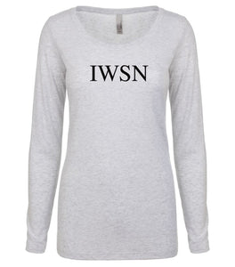 white IWSN long sleeve scoop shirt for women