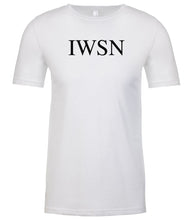 Load image into Gallery viewer, white iwsn mens crewneck t shirt