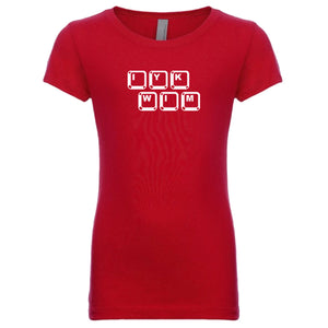 red IYKWIM youth crewneck t shirt for girls