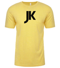 Load image into Gallery viewer, yellow jk mens crewneck t shirt