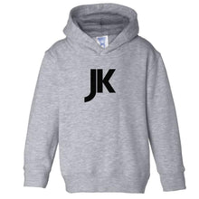 Load image into Gallery viewer, grey JK hooded sweatshirt for toddlers