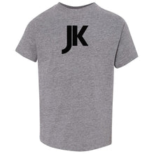 Load image into Gallery viewer, grey JK crewneck t shirt for toddlers