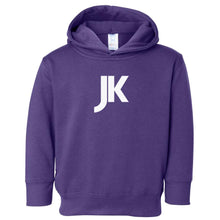 Load image into Gallery viewer, purple JK hooded sweatshirt for toddlers