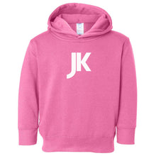 Load image into Gallery viewer, pink JK hooded sweatshirt for toddlers