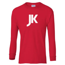 Load image into Gallery viewer, red JK youth long sleeve t shirt for boys