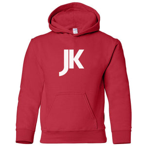 red JK youth hooded sweatshirt for boys