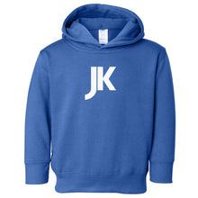 Load image into Gallery viewer, blue JK hooded sweatshirt for toddlers