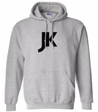 Load image into Gallery viewer, grey JK hooded sweatshirt for women