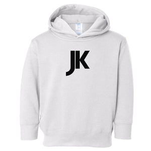 white JK hooded sweatshirt for toddlers