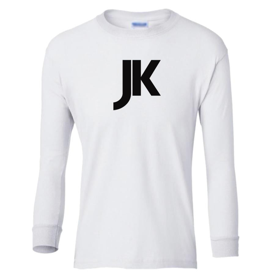white JK youth long sleeve t shirt for boys