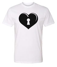 Load image into Gallery viewer, white key to my heart valentines day t-shirt