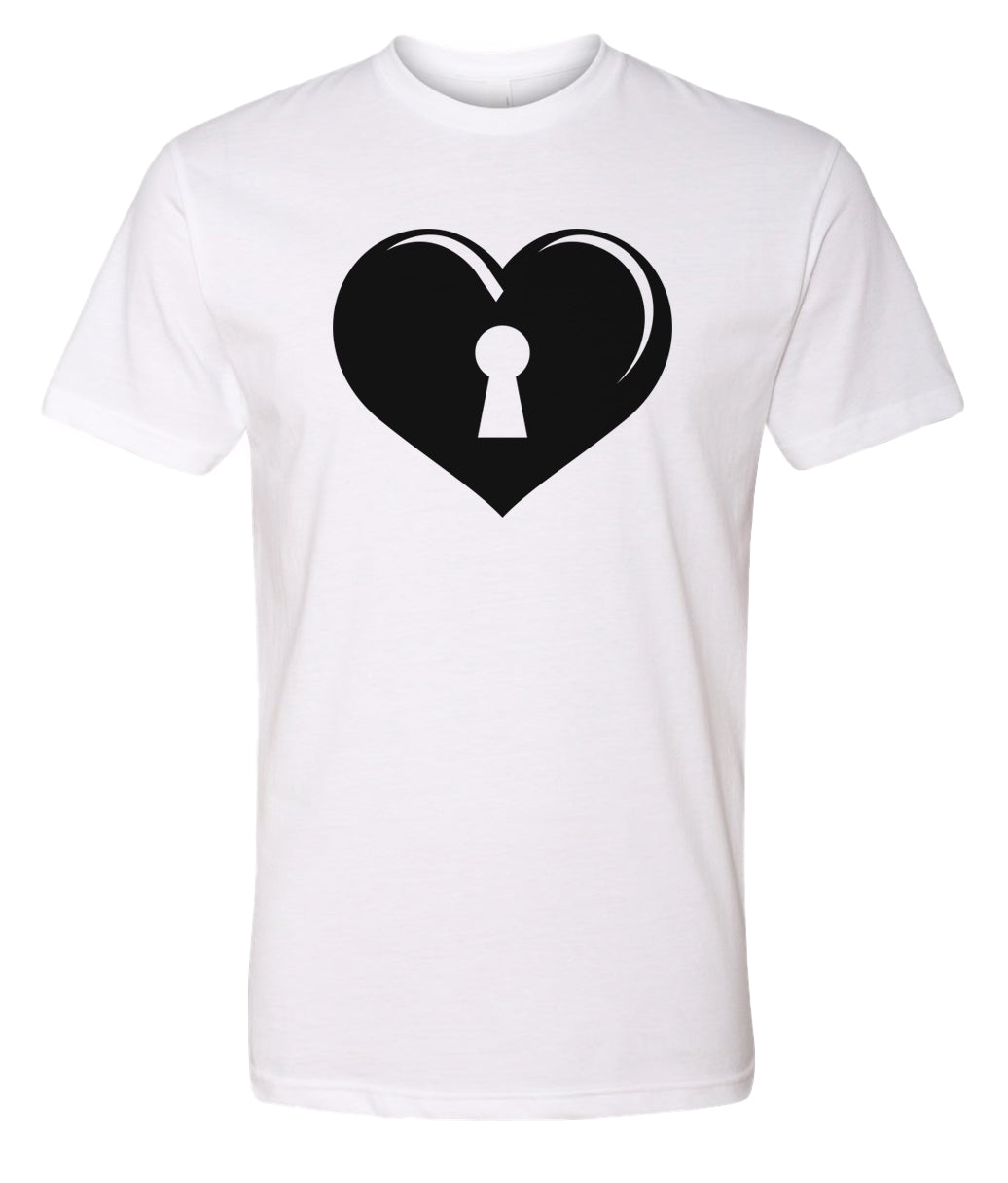 white key to my heart valentines day t-shirt