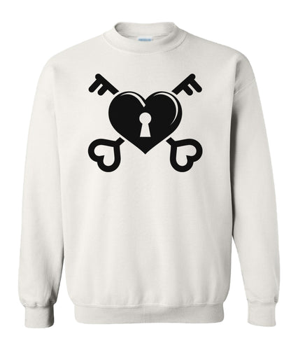white heart and key valentines day sweatshirt