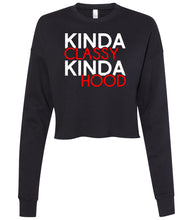 Load image into Gallery viewer, black classy hood cropped sweatshirt