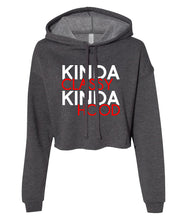 Load image into Gallery viewer, charcoal classy and hood crop top hoodie