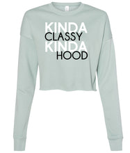 Load image into Gallery viewer, dusty blue classy hood cropped sweatshirt