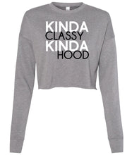 Load image into Gallery viewer, grey classy hood cropped sweatshirt