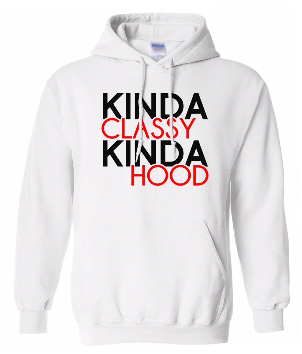 white classy and hood hoodie
