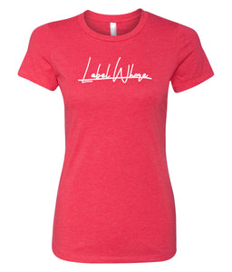 red label whore crewneck t-shirt for women