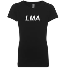 Load image into Gallery viewer, black LMA youth crewneck t shirt for girls