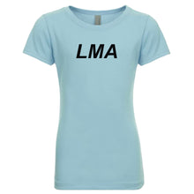 Load image into Gallery viewer, blue LMA youth crewneck t shirt for girls