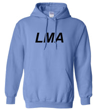 Load image into Gallery viewer, blue LMA hooded sweatshirt for women