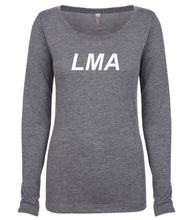 Load image into Gallery viewer, grey LMA long sleeve scoop shirt for women