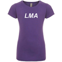 Load image into Gallery viewer, purple LMA youth crewneck t shirt for girls