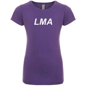 purple LMA youth crewneck t shirt for girls