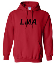 Load image into Gallery viewer, red LMA hooded sweatshirt for women