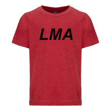 Load image into Gallery viewer, red LMA youth crewneck t shirt for boys