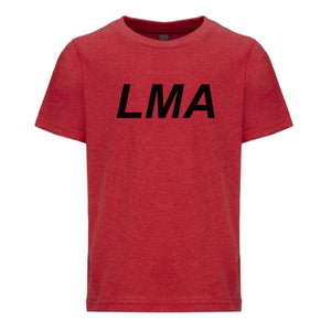 red LMA youth crewneck t shirt for boys