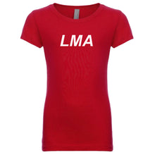 Load image into Gallery viewer, red LMA youth crewneck t shirt for girls
