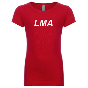 red LMA youth crewneck t shirt for girls