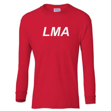 Load image into Gallery viewer, red LMA youth long sleeve t shirt for boys