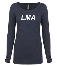 Load image into Gallery viewer, navy LMA long sleeve scoop shirt for women