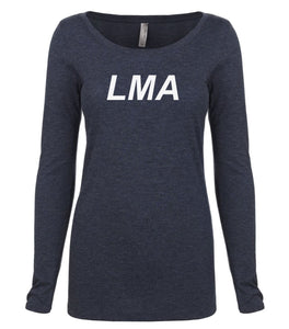 navy LMA long sleeve scoop shirt for women