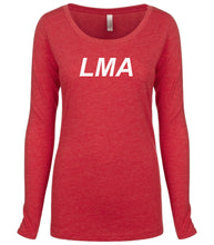 Load image into Gallery viewer, red LMA long sleeve scoop shirt for women