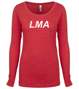red LMA long sleeve scoop shirt for women