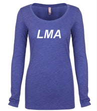 Load image into Gallery viewer, blue LMA long sleeve scoop shirt for women