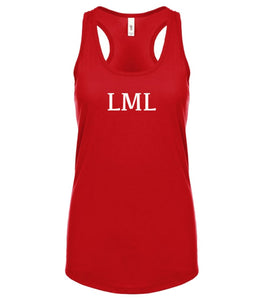 red LML racerback tank top for women