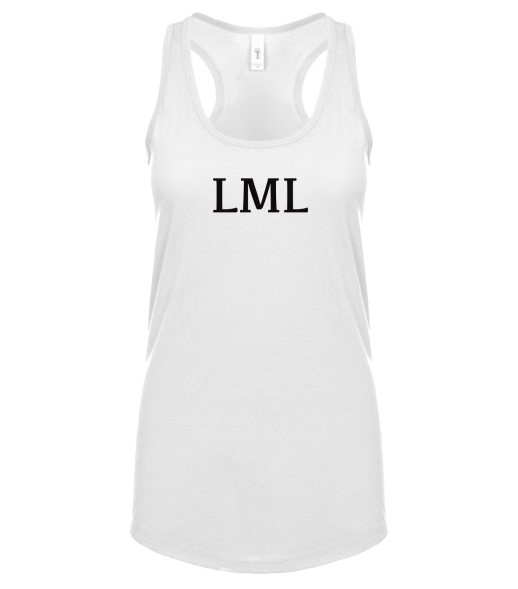 white LML racerback tank top for women