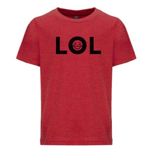 Load image into Gallery viewer, red LOL youth crewneck t shirt for boys