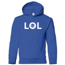 Load image into Gallery viewer, blue LOL youth hooded sweatshirt for boys