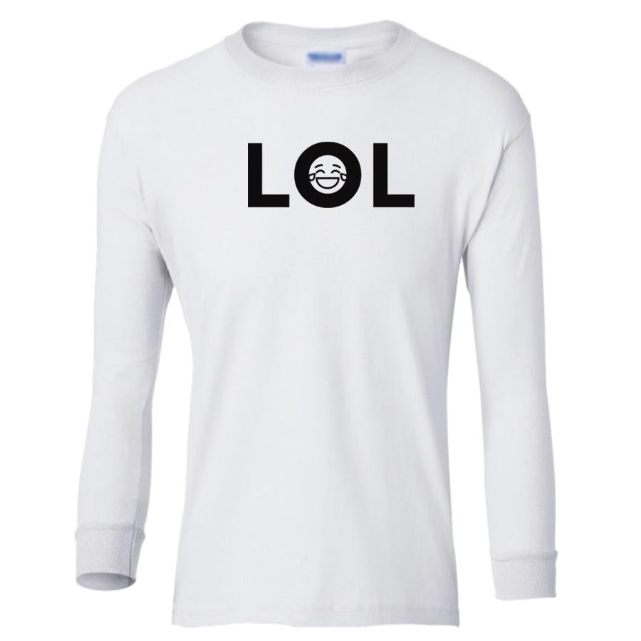 white LOL youth long sleeve t shirt for boys