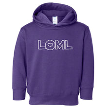 Load image into Gallery viewer, purple LOML hooded sweatshirt for toddlers
